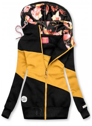 Fekete és sárga színű felső csíkokkal
