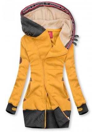 Hosszított felső kapucnival - sárga és grafitszürke színű
