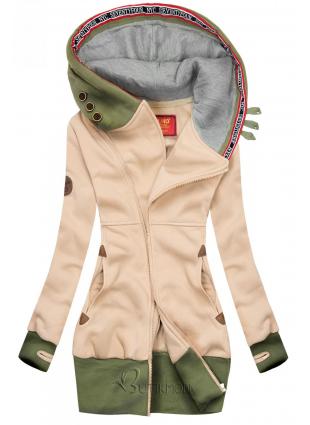 Hosszított felső kapucnival - bézs és khaki színű