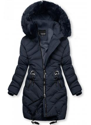 Kék színű téli kabát műszőrmével