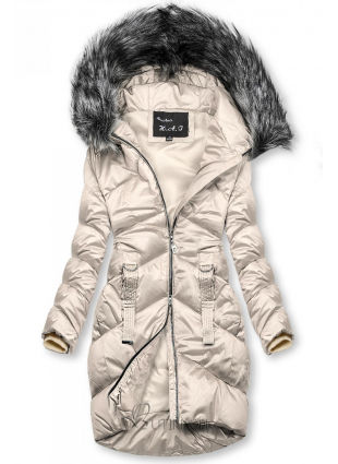 Krémszínű fényes kabát a téli időszakra