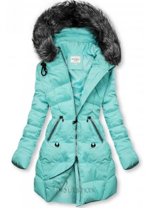 Azúr színű steppelt kabát kapucnival