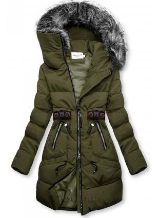 Khaki színű téli kabát fekete színű elemekkel