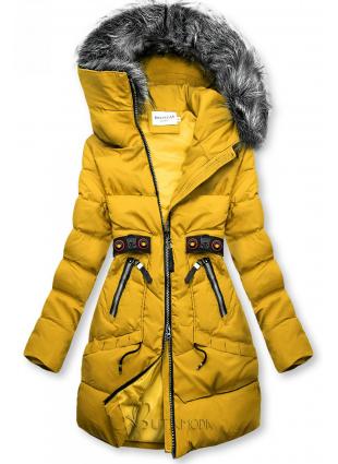 Sárga színű téli kabát fekete színű elemekkel