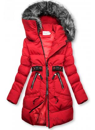 Piros színű téli kabát fekete színű elemekkel