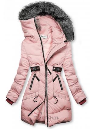 Rózsaszínű téli kabát fekete színű elemekkel