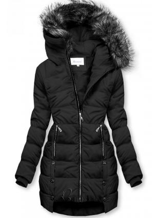 Fekete színű téli steppelt kabát