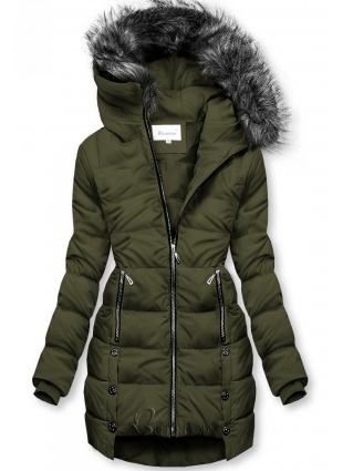Khaki színű téli steppelt kabát