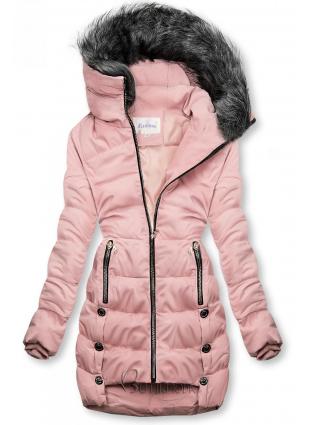 Rózsaszínű téli steppelt kabát
