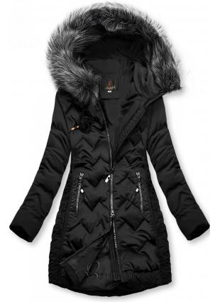 Fekete színű steppelt kabát az őszi/téli időszakra