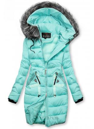 Steppelt téli kabát - azúr színű