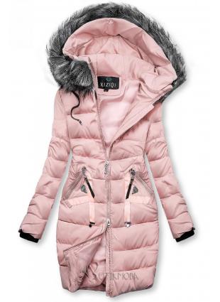 Steppelt téli kabát - rózsaszínű