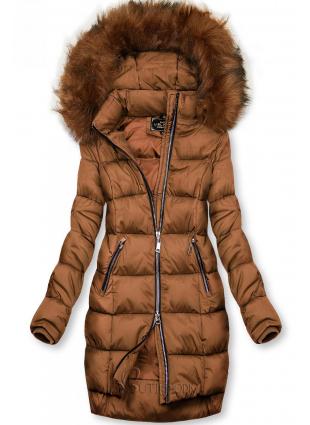 Barna színű téli kabát cipzárral