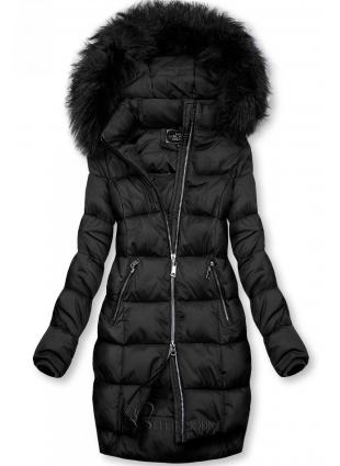 Fekete színű téli kabát cipzárral