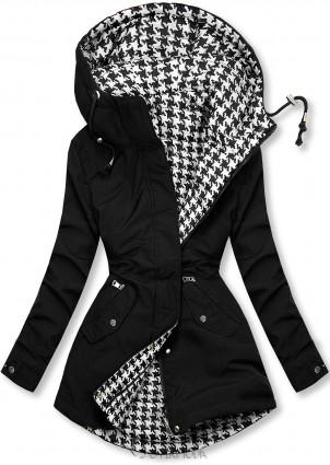 Fekete színű kifordítható kabát pepita mintával