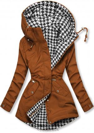 Barna színű kifordítható kabát pepita mintával