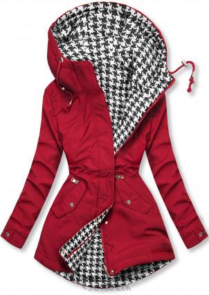 Piros színű kifordítható kabát pepita mintával