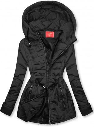 Fekete színű steppelt könnyű kabát