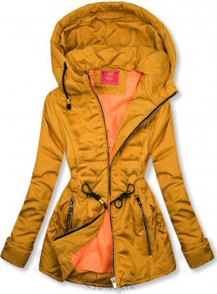 Mustársárga színű steppelt könnyű kabát
