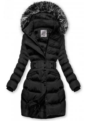 Fekete színű kabát levehető kapucnival