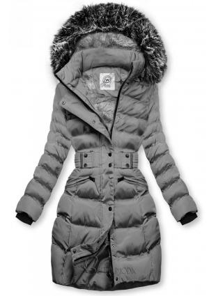 Szürke színű kabát levehető kapucnival