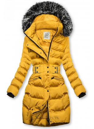 Mustársárga színű kabát levehető kapucnival
