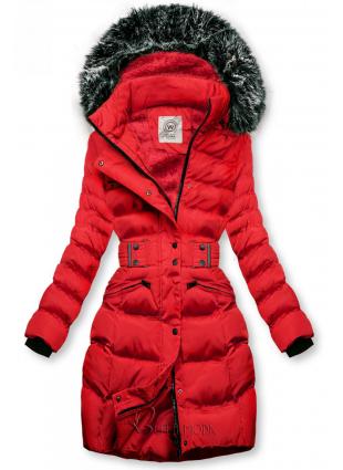 Piros színű kabát levehető kapucnival