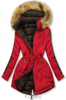 Piros színű steppelt kifordítható kabát
