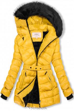 Sárga és fekete színű fényes kabát övvel