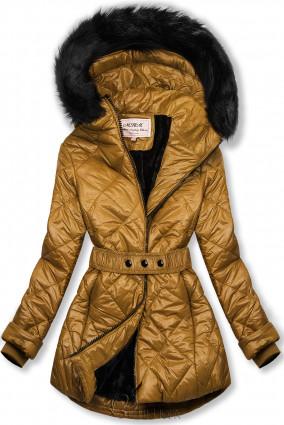 Karamellszínű fényes téli kabát övvel