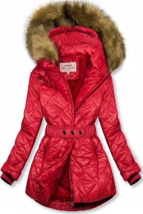 Piros színű fényes téli kabát övvel