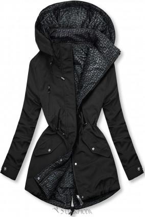 Fekete és szürke színű kifordítható átmeneti kabát