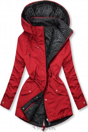 Piros és szürke színű kifordítható átmeneti kabát