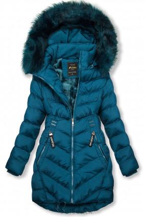 Petrolkék sínű téli kabát levehető kapucnival