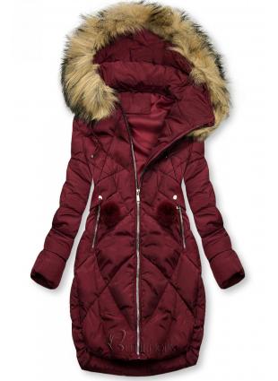 Bordó színű téli kabát pompommal