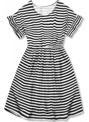 Fekete és fehér színű, bő szabású csíkos ruha II.