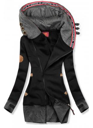 Hosszított felső kapucnival - fekete és grafitszürke színű