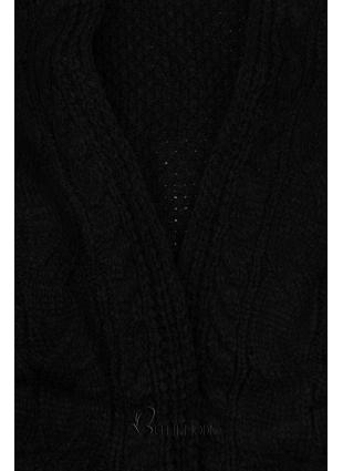Fekete színű rövid kötött kardigán
