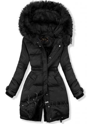 Fekete színű hosszított kabát