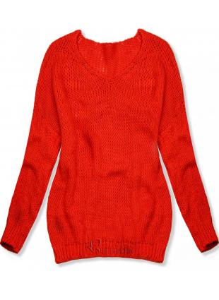 Neon narancsszínu kötött pulóver