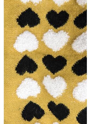 Sárga színű kötött kardigán szívecskékkel