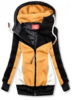 Fekete és sárga színű szőrme dzseki