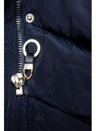 Kék színű téli kabát, meleg plüss gallérral
