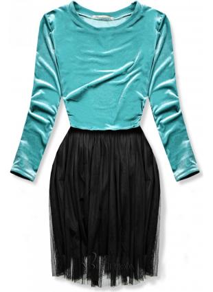 Türkiz színű ruha tüll szoknyával