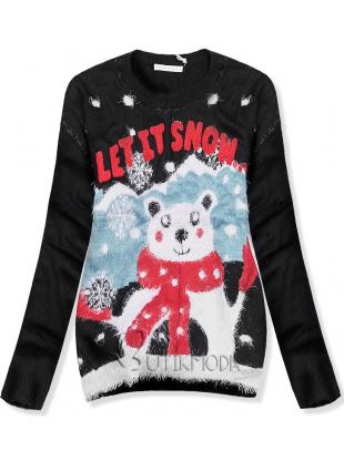 Fekete színű pulóver LET IT SNOW