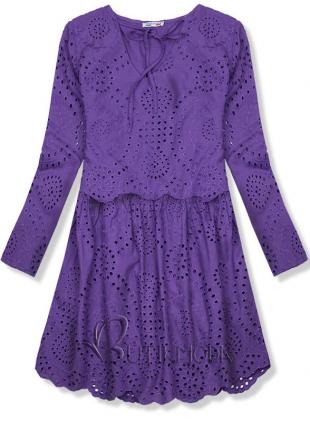 Lila színű ruha lyukacsos anyagból