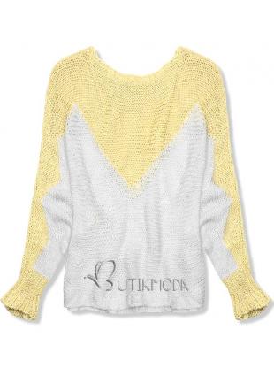 Sárga színű, denevér ujjú pulóver
