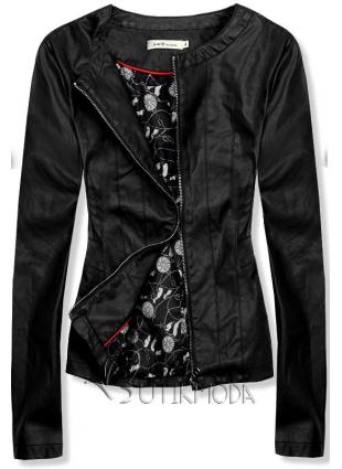 Fekete színű műbőr dzseki