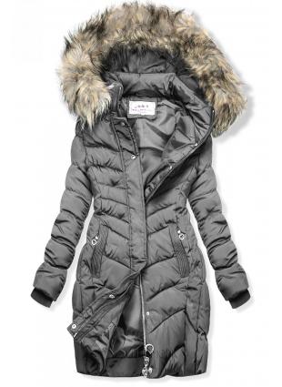 Szürke színű steppelt kabát műszőrmével