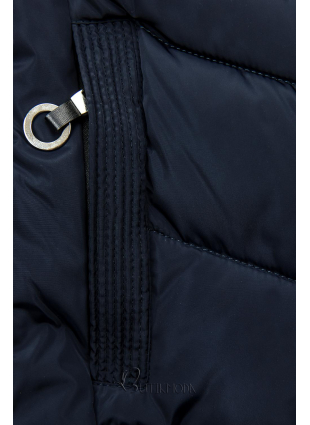 Kék színű steppelt kabát műszőrmével